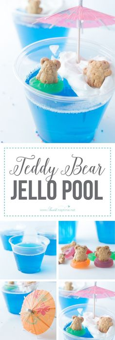 Teddy Bear Jello Pool... these little guys make a great summer treat! Refreshing Jello and a dollop of whipped cream make for a yummy…