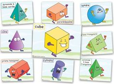 Les solides et leurs patrons (formes en – docecole-am Solids and their patterns shapes) – docecole-am Educational Activities, Math Activities, Learning Shapes, Classroom Environment, Decimal, 1st Grade Math, Teaching French, Math For Kids, 3d Shapes