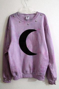 Pastel. Grunge. Goth? Purple. Cresent Moon. Studs. Cute.