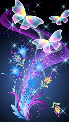 DIY Diamond Painting Light Rainbow Butterflies on Blue - craft kit – TurquoiseRoads Butterfly Kit, Butterfly Flowers, Beautiful Butterflies, Beautiful Flowers, Cellphone Wallpaper, Iphone Wallpaper, Galaxy Wallpaper, Butterfly Pictures, Butterfly Wallpaper