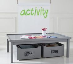carolina activity table low chocolate at pottery barn kids kids 39 play tables baby gadgets. Black Bedroom Furniture Sets. Home Design Ideas
