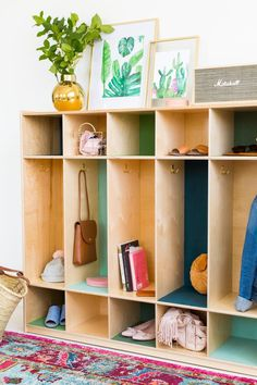 Add storage lockers to your entry, and then add pops of color to create a show stopper!