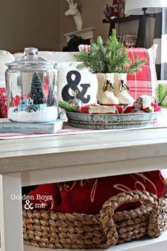 DIY Ikea hack coffee table in Christmas living room with Pottery Barn beachcomber round basket-www.goldenboysandme.com