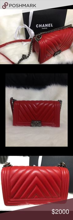 Red Chanel le boy It's a high quality product. Prices's reflected so don't ask so abvious. Come with dust bag and auth card CHANEL Bags Crossbody Bags