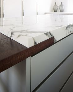 Wood and Marble Kitchen Top Inlay- Peek Architecture