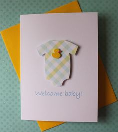 New Baby Shower Welcome Baby Boy Gift Card 3D Yellow Blue Plaid Onesie with Yellow Rubber Duck Ducky on White Cardstock via Etsy