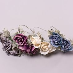 Artificial silk eternity roses with grey/green foliage on a silvertone aliceband base. Available in 4 different colourways. Three delicate open roses, surrounded by satin sage and rosemary foliage on a silver metal headband base. Rose Headband, Open Rose, Metal Headbands, Glitter Stars, Floral Hair, Hair Pieces, Green And Grey, Unique Gifts, Delicate