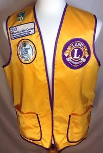 Lions Club International Vest Medium Mens Florida Handicapped Patches Gold VTG in Collectibles, Historical Memorabilia, Fraternal Organizations, Lions | eBay