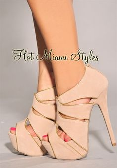 Nude Gold Trim Cut-Out High Heel Booties