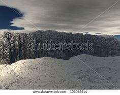 View of the plateau with the sky and clouds. Snow-covered countryside. 3D Illustration, 3D rendering - stock photo