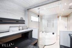 Moderni mustavalkoinen sauna ja lasiseinä Alcove, Bathtub, Bathroom, Standing Bath, Washroom, Bathtubs, Bath Tube, Full Bath, Bath