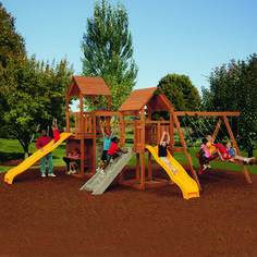 Help your kids have some fun in the sun with a PlayStar® SuperStar Silver Playset. This larger-than-life playset comes in preassembled and prestained sections, which can be installed in just a few hours.