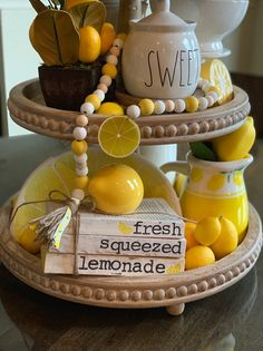 home accents decorative 3 Tier Stand, Tiered Stand, Fresh Squeezed Lemonade, Lemon Kitchen Decor, Spring Home Decor, Spring Crafts, Simple Wedding Invitations, Beaded Garland, Tray Decor