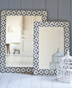 Geometric monochrome inlay Banyan mirrors in a beautiful black and white design. Comes in large and small.