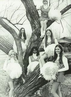"""The 1972 cheerleading squad in the """"Hoofbeats"""" yearbook of Southeast high school in Wichita, Kansas.  #Southeast #Hoofbeats #yearbook #Wichita #Kansas #1972"""