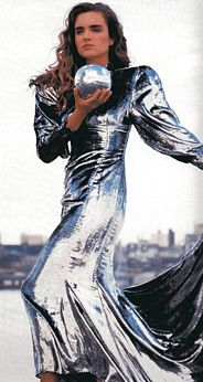 Puffed sleeved metallic silver dress by Prue Acton