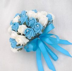 Turquoise Wedding Flowers | WEDDING FLOWERS - POSY BOUQUET IN IVORY & TURQUOISE ROSES BRIDES ...