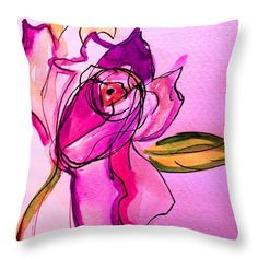 Pink Flower Girl Girly Teen Kitsch Purple Fluo Surreal Fun Kids Throw Pillow featuring the painting Pink Flower by Chava Sarah