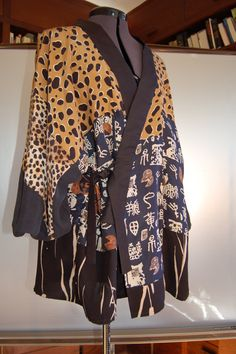 Large fluid kimono blouse created from repurposed by Sowhenge