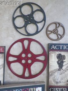 Large Wooden Movie Reel Film Wooden Wall Decor Plaque Burgundy