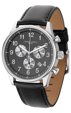 Jorg Gray JG5500-23 Men's Watch Chronograph Gray Dial With Black Leather Strap