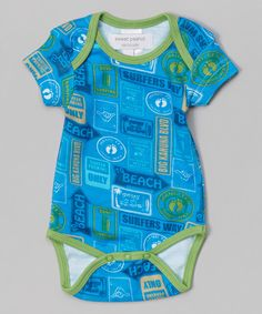 Take a look at the Blue & Green Beach Is That Way Organic Bodysuit on #zulily today!