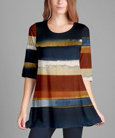 Loving this Blue & Rust Color Block Three-Quarter Sleeve Tunic - Plus Too on #zulily! #zulilyfinds