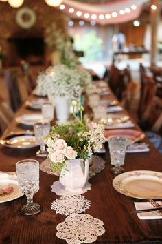 Such adorable little doilies for the center of the table #wedding #weddingdecor #vintage #vintagewedding #tablescape