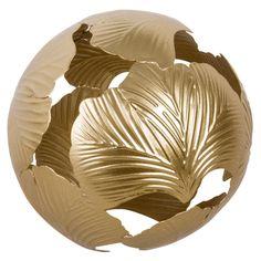 Boule déco en métal doré | Maisons du Monde