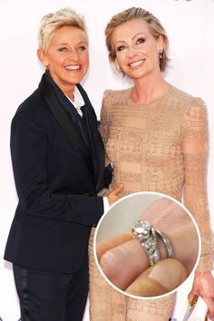 PORTIA DE ROSSI AND ELLEN DEGENERES Ellen DeGeneres famously proposed to Portia de Rossi in 2008 with a three-carat Neil Lane diamond ring while they were both tending to a pet goldfish.