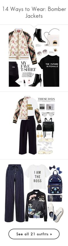 """14 Ways to Wear: Bomber Jackets"" by polyvore-editorial ❤ liked on Polyvore featuring bomberjackets, waystowear, Gucci, sass & bide, Marni, Gianvito Rossi, Miu Miu, Bobbi Brown Cosmetics, MyFaveTshirt and Ganni #miumiueditorial"