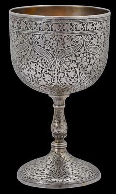 Kashmir Silver Goblet - Michael Backman Ltd Indian Furniture, Room Doors, Decoration, Metal Working, Antique Silver, Asian, Antiques, Tableware, Beauty