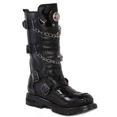 Buy Best Black Skull Punk Goth Biker Battle Boots w/ Chains Men Shops SKU-1280369