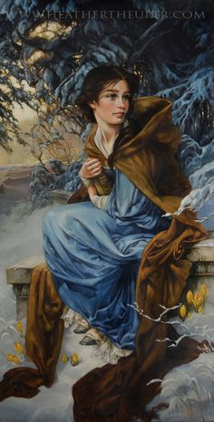 """Artist - Heather Theurer, officially released by Disney Fine Art just a few days ago: Beauty and the Beast - """"Love Blooms in Winter"""" (p.s. Beast is in the background.)"""