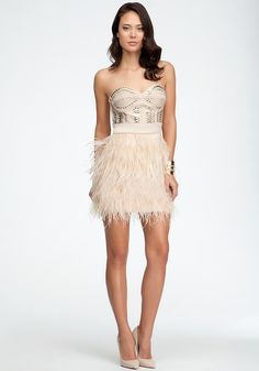 bebe | Isis Studded Feather Dress - Special Occasion