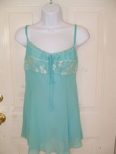 Victoria's Secret Light Blue Silk Lingerie Sexy Babydoll Size Medium Women's EUC #VictoriasSecret #BabydollChemise