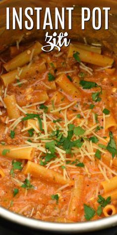Factors You Need To Give Thought To When Selecting A Saucepan Under 30 Minutes For This Easy, Flavorful Instant Pot Ziti Recipe. Stuffed With Flavor And Cheese, Youll Love This Delicious Weeknight Dinner In The Pressure Cooker # Ziti Pasta Recipe, Pasta Recipes, Cooking Recipes, Sweets Recipes, Desserts, Easy Dinner Recipes, Easy Meals, Baked Ziti, Pressure Cooker Recipes