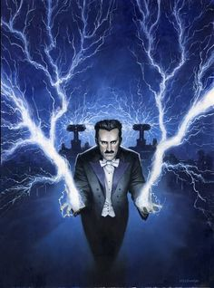 """Nikola Tesla"" by Les Edwards for Cover of Fortean Times magazine Nikola Tesla, Tesla S, George Westinghouse, Westinghouse Electric, Tesla Electric, Electric Light, Tesla Nikolai, Astro Science, Tesla Coil"