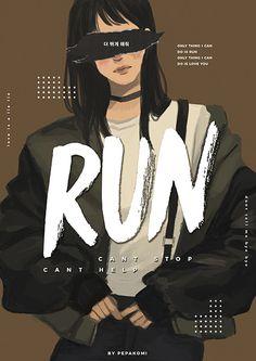 Bts / run / fanart by pepakomi Image Summer, Bts Wallpapers, Fanart Bts, K Wallpaper, Velvet Wallpaper, Pastel Wallpaper, Bts Girl, Bts Drawings, Image Manga