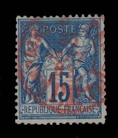 TYPE SAGE - 1882 - N°90 15c BLEU (N SOUS U) CAD ROUGE (ROSE) DES IMPRIMÉS - B/TB in Timbres, France, France: oblitérés | eBay