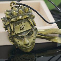 Anime Naruto Uzumaki Face Retro Bronze Metal Pendant Necklace
