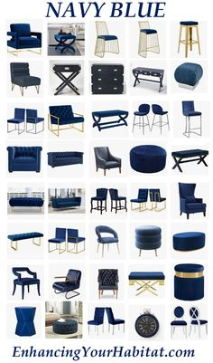 navy blue home accents Navy Blue Furniture Navy Bl - homeaccents Blue Living Room Decor, Blue Kitchen Decor, Living Room Sofa Design, Home Room Design, Home Interior Design, Living Room Designs, Interior Decorating, House Design, Gold Bedroom Decor