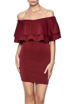 Burgundy bodycon dress with a short tiered overlay top.  Rosa Dress by alpha & omega. Clothing - Dresses - Casual New York City
