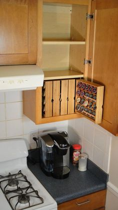 or maybe spices instead of K-cups kitchen cabinets - http://www.motorhomepartsandaccessories.com/motorhomecabinets.php: