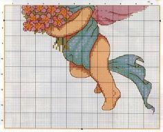 anjo com flores grafico