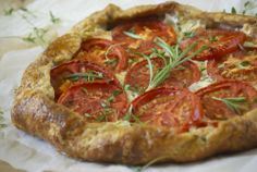 Tomato Galette with Herbs & Fresh Mozzarella #Recipe (piecrust + tomatoes + mozzarella = dinner!)
