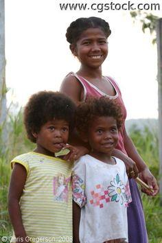 Two Aeta Children and their Mom, Pampanga, the Philippines