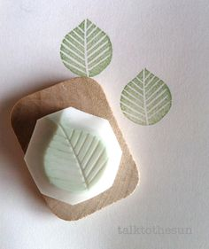 leaf hand carved rubber stamp. small hand carved door talktothesun