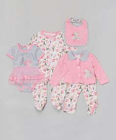 Look at this #zulilyfind! Pink & Gray Paris Poodle Five-Piece Layette Set - Infant by Duck Duck Goose #zulilyfinds
