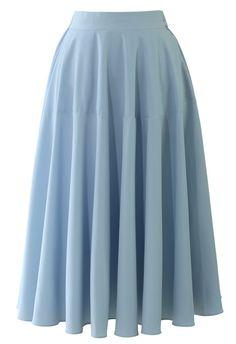 Pastel Blue Midi Skirt